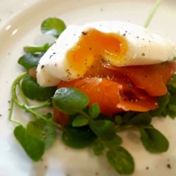 Smoked salmon, poached eggs, watercress from our kitchen garden