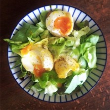 Organic salad from our kitchen garden and soft boiled free range eggs